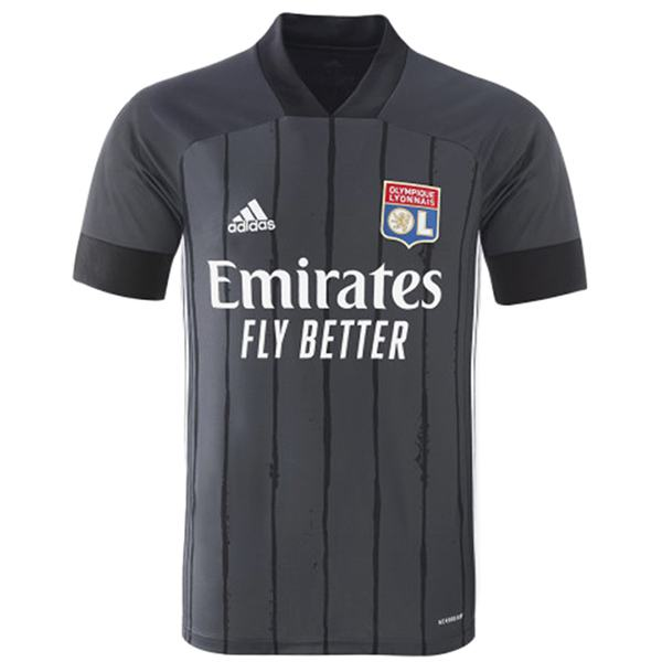 Lyon away soccer jersey match men's 2ed soccer sportwear football black shirt 2020-2021