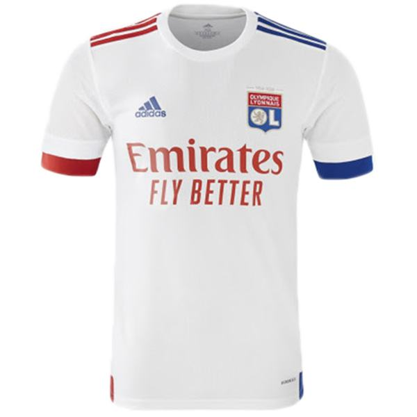 Lyon home soccer jersey match men's 1st soccer sportwear football white shirt 2020-2021