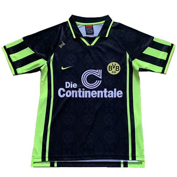 Borussia Dortmund away retro soccer jersey sportswear men's second soccer shirt football sport t-shirt black green 1996