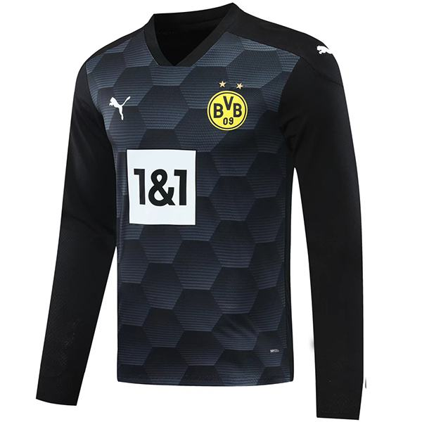 Borussia dortmund goalkeeper long sleeve jersey match soccer sportswear football shirt black 2020-2021