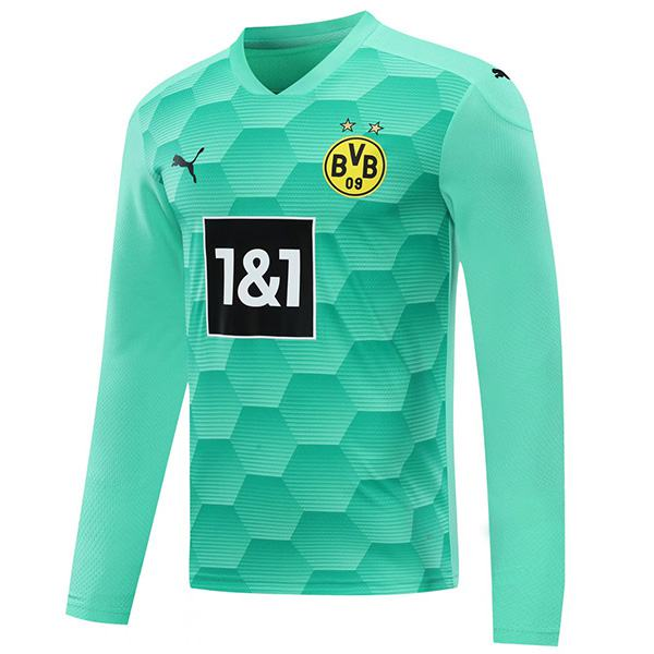 Borussia dortmund goalkeeper long sleeve jersey match soccer sportswear football shirt green 2020-2021