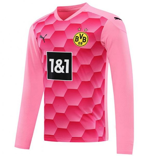 Borussia dortmund goalkeeper long sleeve jersey match soccer sportswear football shirt pink 2020-2021