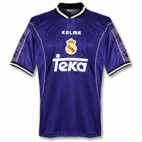 Real madrid away retro soccer jersey maillot match men's 2ed sportwear football shirt blue 1997-1998