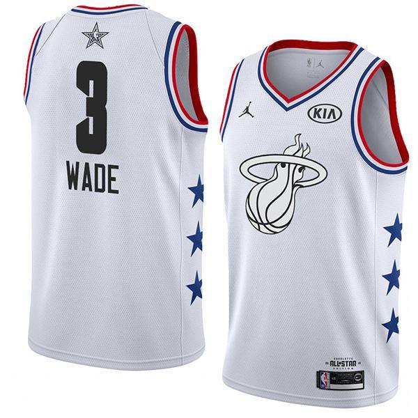 2019 All Star Game Men's Miami Heat Dwyane Wade Jordan Brand White NBA Swingman Jersey