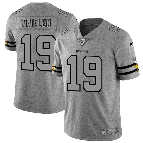Men's nfl american national football adam thielen vikings 19 gray super bowl limited edition jersey 2020