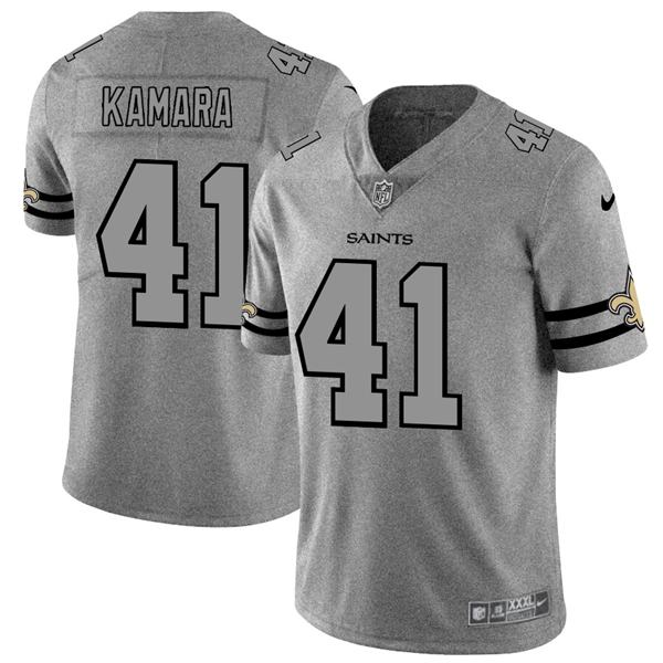 Men's nfl american national football alvin kamara saints 41 gray super bowl limited edition jersey 2020