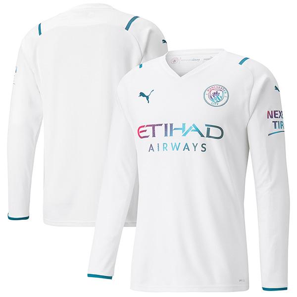 Manchester city away jersey long sleeve soccer kit men's football tops sport shirt 2021-2022