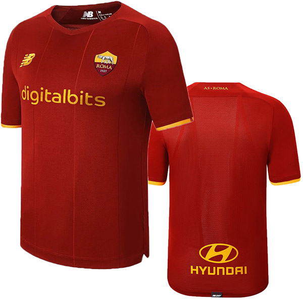 AS Roma home jersey soccer authentic men's first sportswear football tops sport shirt 2021-2022
