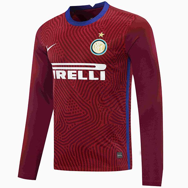 Inter milan goalkeeper jersey long sleeve match soccer sportswear football shirt darkred 2020-2021
