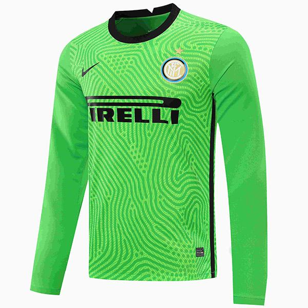 Inter milan goalkeeper jersey long sleeve match soccer sportswear football shirt green 2020-2021