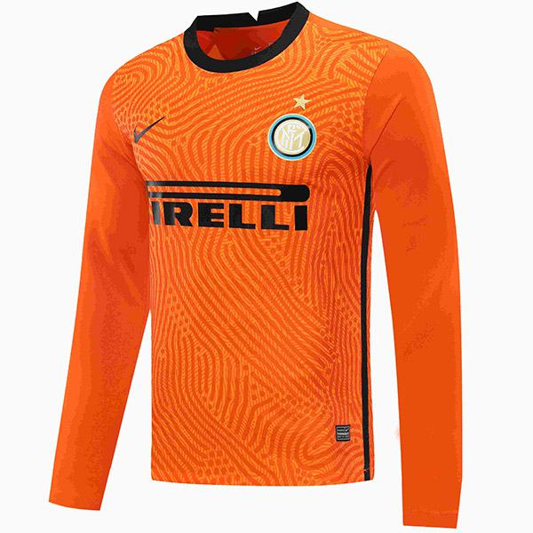 Inter milan goalkeeper jersey long sleeve match soccer sportswear football shirt orange 2020-2021