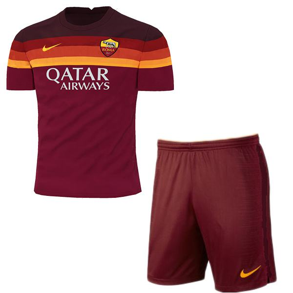 AS Roma home kids kit soccer children 1st football shirt maillot match youth uniforms 2020-2021