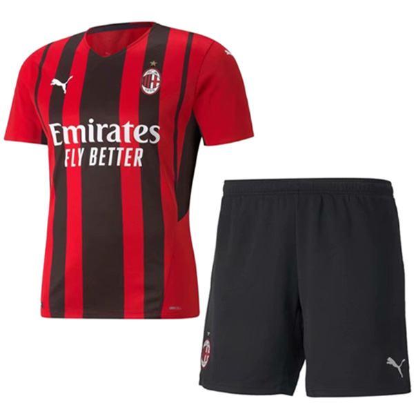 AC milan home kids kit soccer children first football shirt maillot match youth uniforms 2021-2022