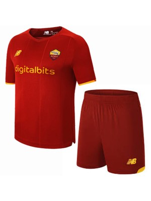 AS Roma home kids kit soccer children first football mini shirt maillot match youth uniforms 2021-2022