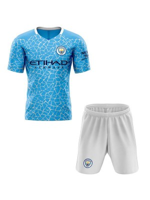 Manchester City Home Kids Kit Soccer Children 1st Football Shirt Youth Uniforms 2020-2021