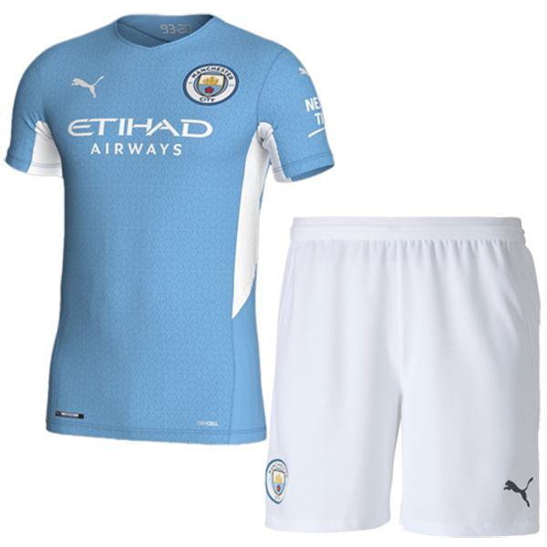 Manchester city home kids kit soccer children first football mini shirt maillot match youth uniforms 2021-2022