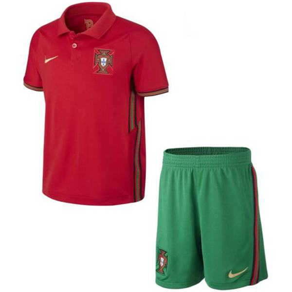 Portugal home kids kit soccer children first football shirt youth uniforms red green 2020-2021