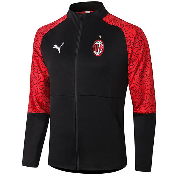 AC Milan Jacket Football Sportwear Tracksuit Full Zipper Men's Training Jersey Athletic Outdoor Soccer Coat Black Red 2020-2021