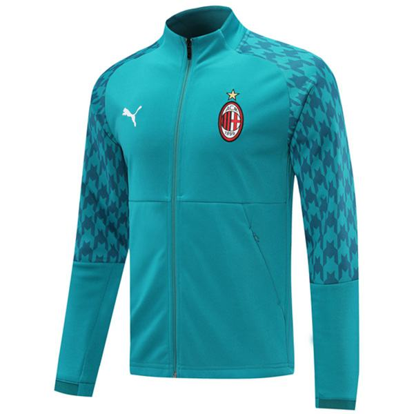 AC Milan Jacket Football Sportwear Tracksuit Full Zipper Men's Training Jersey Athletic Outdoor Soccer Coat Cyan 2020-2021