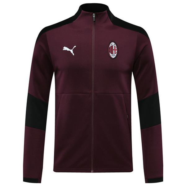 AC Milan Jacket Football Sportwear Tracksuit Full Zipper Men's Training Jersey Athletic Outdoor Soccer Coat Red 2020-2021
