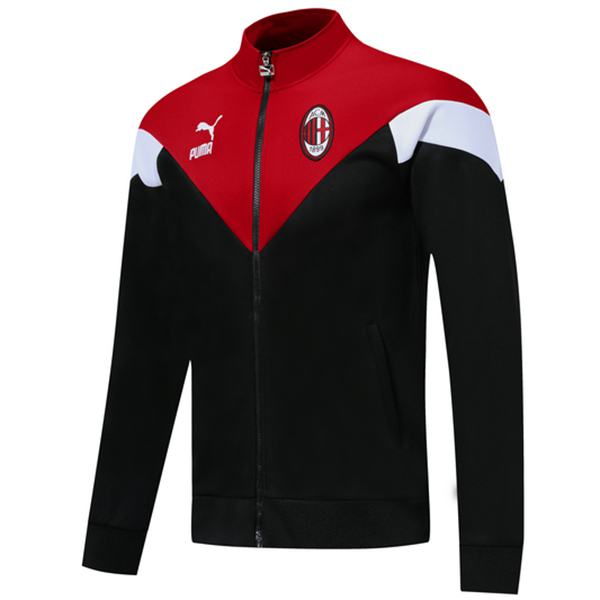 AC Milan Jacket Sport Football Sportwear Tracksuit Full Zipper Men's Training Jersey Athletic Outdoor Soccer Coat Black Red 2020-2021