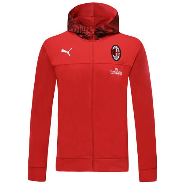 AC Milan Windbreaker Hoodie Jacket Football Sportwear Tracksuit Full Zipper Men's Training Kit Athletic Outdoor Soccer Coat Red 2019-2020