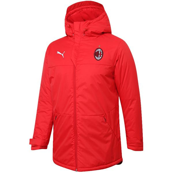 AC milan winter cotton coat hoodie jacket men's warm clothing windbreaker athletic outdoor soccer coat red 2020-2021