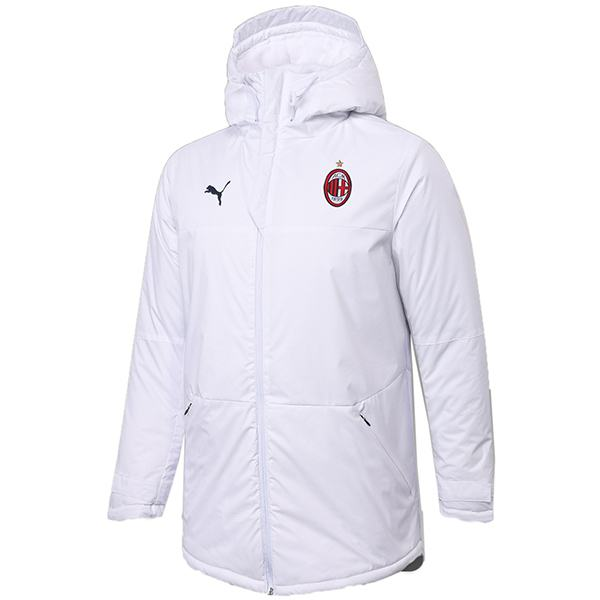AC milan winter cotton coat hoodie jacket men's warm clothing windbreaker athletic outdoor soccer coat white 2020-2021