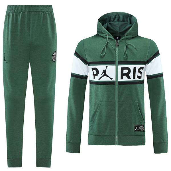 Jordan air fly paris saint germain hoodie jacket football sportswear tracksuit full zipper men's training jersey kit green 2021-2022