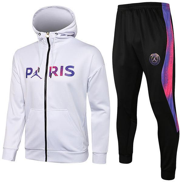 Jordan Air Fly Paris Saint Germain Hoodie Jacket PSG Men's Football Sportswear Tracksuit Full Zipper Men's Training Jersey Athletic Outdoor Soccer Coat White 2021-2022