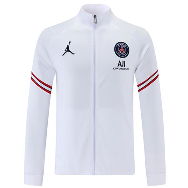 Jordan air fly paris saint germain jacket football sportswear tracksuit full zipper men's training jersey kit white 2021-2022
