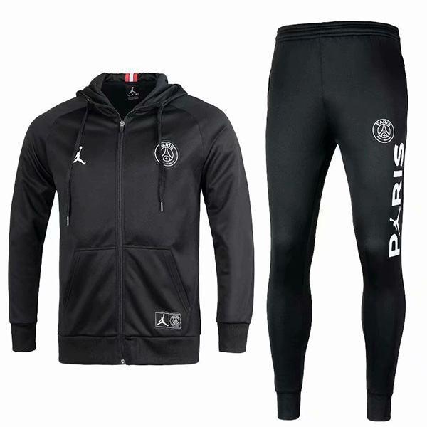Jordan Air Paris Saint Germain Hoodie Jacket PSG Men's Football Sportswear Tracksuit Full Zipper Men's Training Jersey Athletic Outdoor Soccer Coat All Black 2021