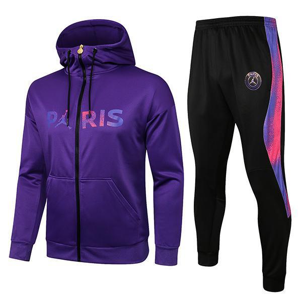 Jordan Air Paris Saint Germain Hoodie Jacket PSG Men's Football Sportswear Tracksuit Full Zipper Men's Training Jersey Athletic Outdoor Soccer Coat Purple Black 2021