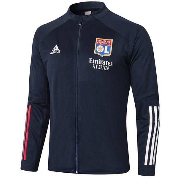 Lyon Jacket Football Sportwear Tracksuit Full Zipper Men's Training Jersey Athletic Outdoor Soccer Coat Navy 2020-2021