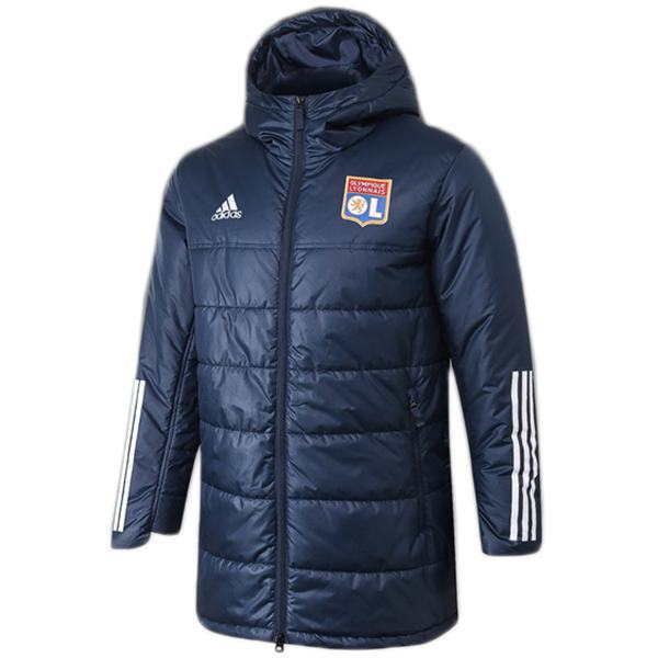 Lyon winter cotton coat hoodie jacket men's warm clothing windbreaker athletic outdoor soccer coat navy 2020-2021