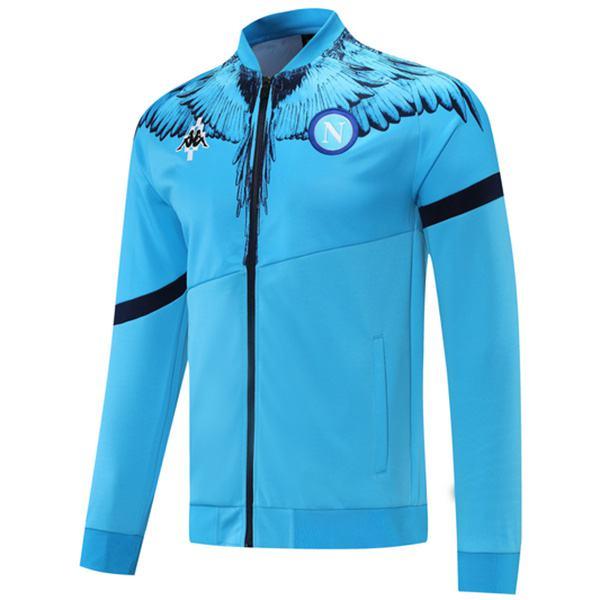 Napoli Jacket Football Sportswear Tracksuit Full Zipper Men's Training Kit Athletic Outdoor Soccer Coat Blue 2021-2022