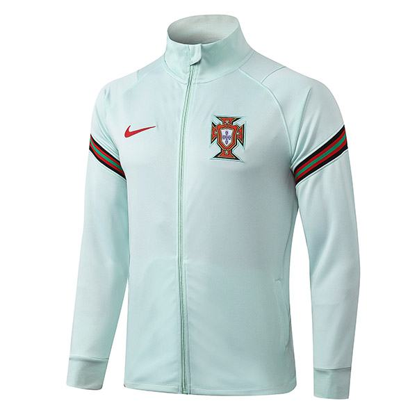 Portugal Jacket Football Sportwear Tracksuit Full Zipper Men's Training Jersey Athletic Outdoor Soccer Coat Cyan 2020-2021