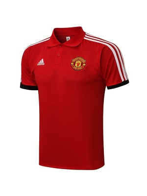 Manchester united polo jersey soccer top sports men's training sportswear football shirt red 2021-2022