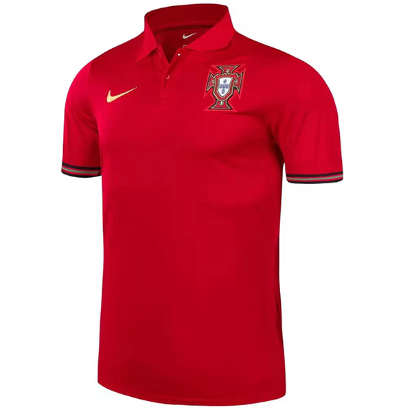Portugal home polo training soccer jersey maillot match men's sportswear football tops sport shirt red 2021-2022