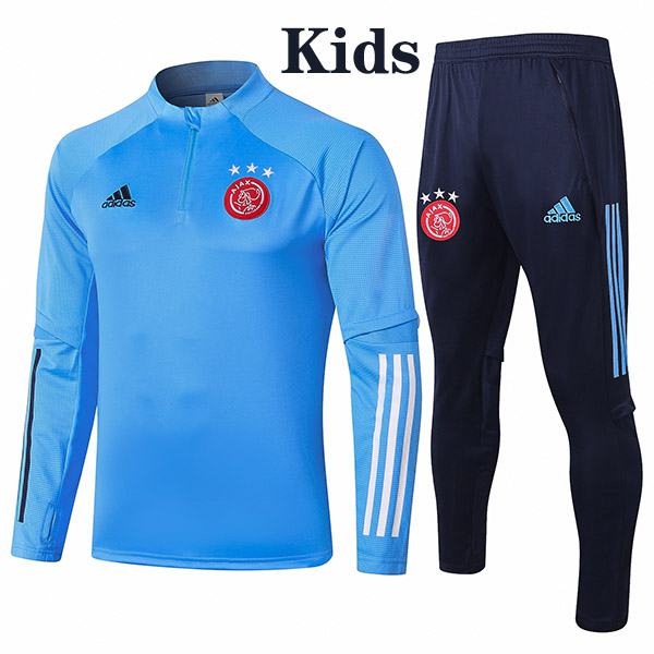 Ajax Suit Tracksuit Kids Kit Soccer Pants Suit Sports Set Hight Necked Cleats Youth Clothes Children Football Training Jersey Blue 2020-2021