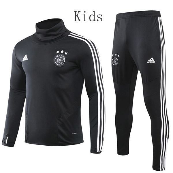 Ajax Tracksuit Kids Kit Soccer Pants Suit Sports Set High Necked Cleats Youth Clothes Children Football Training Jersey Black 2019-2020
