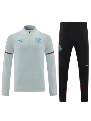 Manchester city tracksuit soccer pants suit sports set necked cleats men's clothes football training jersey white 2021-2022