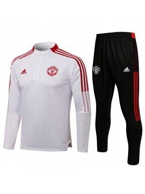 Manchester united tracksuit soccer pants suit sports set necked cleats men's clothes football training jersey white 2021-2022