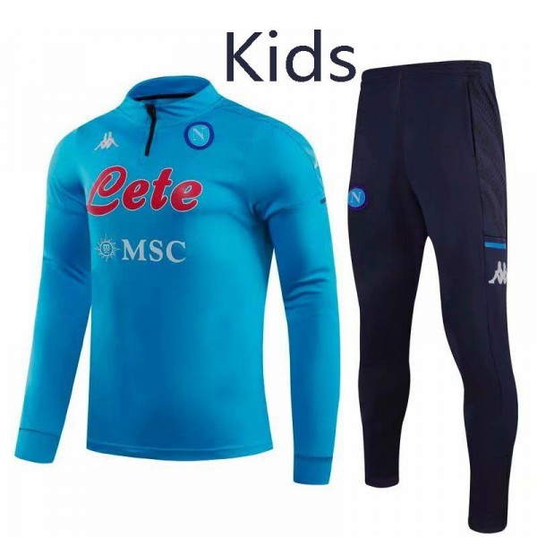 Napoli Tracksuit Kids Kit Soccer Pants Suit Sports Set Hight Necked Cleats Youth Clothes Children Football Training Jersey Blue 2020-2021