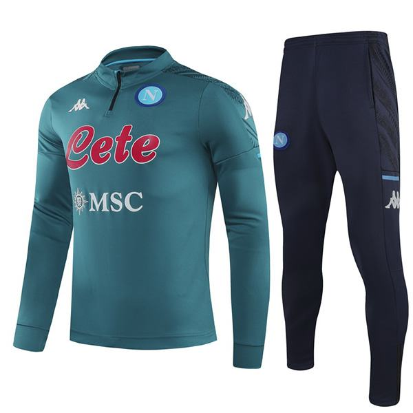 Napoli tracksuit soccer pants suit sports set necked cleats men's clothes football training jersey teal 2020-2021
