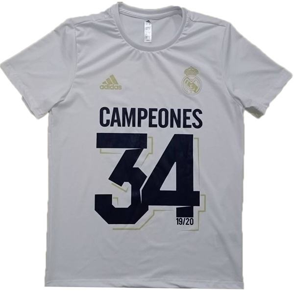 Real Madrid 34 Campeones Jersey Football Training Jersey Soccer Teal Sportwear T-shirt White 2020