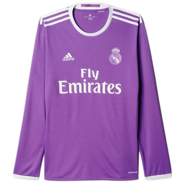 Real madrid away retro jersey long sleeve match men's second sportswear football shirt purple 2016-2017