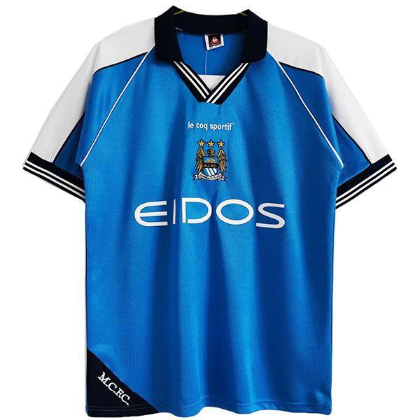 Manchester city home retro soccer jersey sportswear men's first shirt football sport t-shirt 1999-2000
