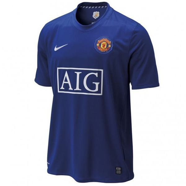 Manchester united away retro jersey blue 0708