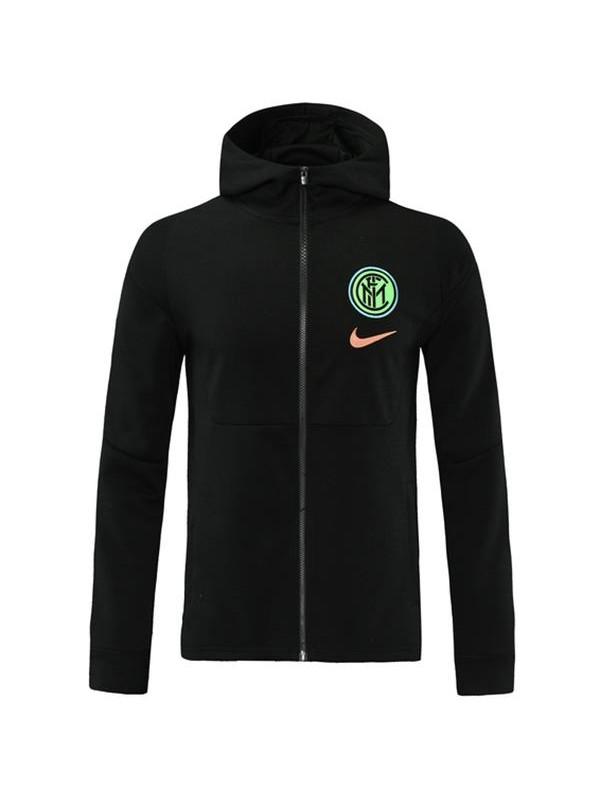 Inter Milan Windbreaker Hoodie Jacket Football Sportwear Tracksuit Full Zipper Men's Training Kit Athletic Outdoor Black Soccer Coat 2021